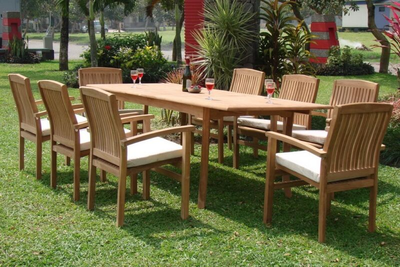 "9-piece Outdoor Teak Dining Set: 83"" Rectangle Table, 8 Stacking Arm Chairs Wave"