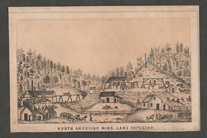 c1850 Antique Print copper mine  Upper Peninsula of Michigan Lake Superior