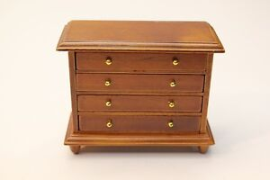 NEW-Dolls-House-Miniature-Wooden-4-Draw-Chest-of-Drawers-1-12th-Scale