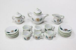 NEW Dolls House Furniture Crockery Tea Set 1/12th Scale Green Flower Design