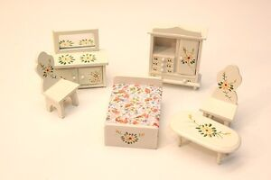 NEW Dolls House Unusual 6pc Bedroom Set Handpainted Shabby Chic - 1/12th Scale
