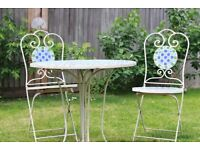 Cast Iron Table and x2 Chairs