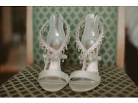 Beautiful rhinestone wedding shoes for sale size 6 50.00 ono