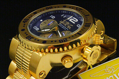 Invicta Men 52mm Pro Diver COMBAT SEAL 18 KGold Plated Chrono BlueDial S.S Watch