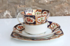 Vintage Gilded Trio Roslyn China England Cup Saucer Side Plate Reid & Co Antique Tea Coffee