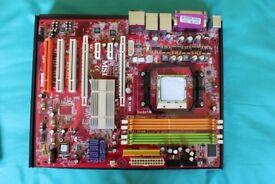AMD K9N SLI Motherboard socket AM2 with dual core CPU (3 Ghz per core), heat sync & fan - Faulty