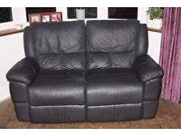 Leather 3 and 2 seater recliner sofas