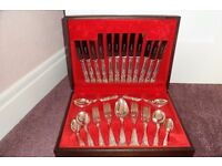 "Silver plated ""King's Pattern"" canteen of cutlery."