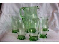 Beautiful, Green, Vintage Glass Jug & Tumblers