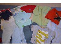 A bundle of baby boy clothes, Size 9-12 months
