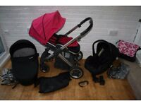 Babystyle Oyster pram travel system 3 in 1 - pink / black CAN POST