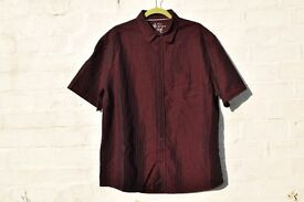 "Next Soft Touch X-Large Burgundy with Red Stripes Smart Short-Sleeved Shirt C51"" & N17 ¾"""