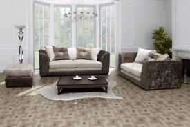 TOP SELLING BRAND IS HERE! NEW DYLAN CRUSHED VELVET CORNER OR 3 AND 2 SOFA SET == EXPRESS DELIVERY==