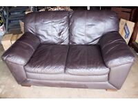 Brown Leather 2 Seater Sofa Perfect Condition
