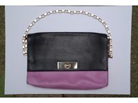 Kate Spade Designer two-tone classic shoulder bag in blue/purple leather gold chain