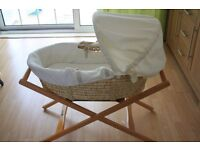 Mamas and Papas moses basket with stand and nearly new mattress