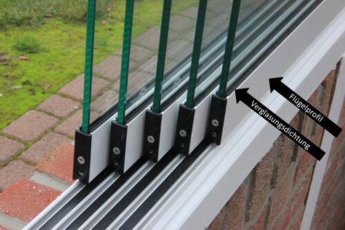 Super Schiebeelement Glastrennwand Windschutz Glasschiebetür Terrasse WL59