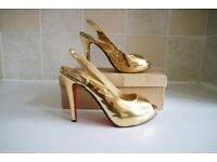 Ladies Christian Louboutin Gold Heels With Box Size 6
