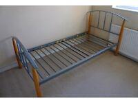Single strong & sturdy wood/metal Bedframe
