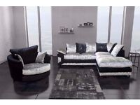 CLASSIC SALE NEW DOUBLE PADDED DINO CRUSHED VELVET CORNER SOFA OR 3 AND 2 SOFA