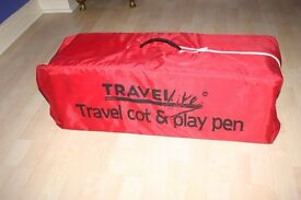 TRAVEL COT / PLAY PEN . Portable use as safe sleeping bed for toddler also a play pen .