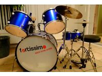 Drum Kit 7 piece with stool, sticks and music (everything needed to get started)