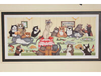 Large Vintage Linda Jane Smith Cat Print The Stag Party Limited Edition Signed Framed Art Picture