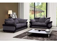 AMAZING OFFER!!!! BLACK/GREY DINO JUMBO CORD 3 AND 2 SEATER SOFA ON SALE!! ALSO IN BROWN/BEIGE