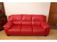Hatfields Red Leather Sofa - 3 Seater, 2 Seater & Footstool