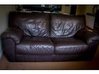 2-Seater Dark Brown Leather Sofa
