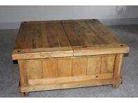 Solid Oak Coffee Table/ Storage Unit