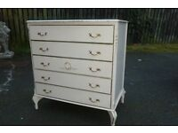VINTAGE LOUIS FRENCH SHABBY CHIC STYLE CHEST OF 5 X DRAWERS