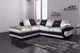 🔴🔵CLASSIC SALE🔴🔵 NEW DOUBLE PADDED DINO 3+2 CRUSHED VELVET CORNER SOFA OR 3 AND 2 SOFA