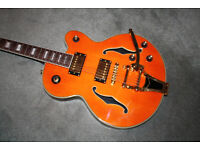 Rockabilly Orange Electric semi-Acoustic Guitar - Gold hardware, PRICE REDUCED
