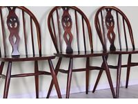 3 X ERCOL WINDSOR CHAIRS VINTAGE 1960 s WITH VARNISH WEAR - CAN COURIER