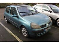 2002 Renault Clio 1.2 16V ___ NO MOT ___ NON RUNNER ___ IMMOBILISER FAULT ___ FOR SPARES OR PARTS