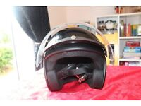 THH T-380 Black open faced motorcycle helmet and visor