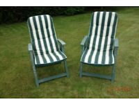 Pair of deck chair cushions and two FREE deck chairs