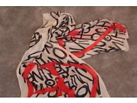 Moschino red, black and white long silk scarf