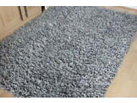 """LARGE SILVER GREY THICK SHAG PILE CONTEMPORARY RUG 76"""" X 54"""" IMMACULATE"""