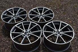 "18"" Audi RS4 Style Alloy Wheels Audi A3 TT 2nd Gen A4 Brand New Satin Grey Polished VW Golf Mk5"