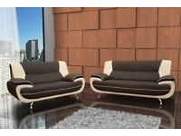 CHEAPEST PRICE EVER- BRAND NEW CAROL LEATHER 3+2 SEATER SOFA IN BLACK AND RED / GREY AND WHITE COLOR