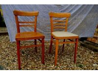 Two vintage wooden chairs, perfect for up-cycling