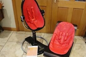 PAIR OF BLOOM BABY GOODS - DARK WOOD COCO ROCKER IN RED WITH FRESCO HIGH CHAIR in BLACK & RED