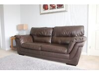 DFS Brown Leather 3 seater Sofa & 1 Electric Reclining Chair