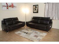 Ex-display Natuzzi Napoli brown leather electric recliner 3 seater sofa and standard 2 seater sofa