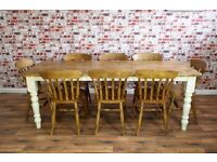 Rustic Farmhouse Reclaimed Pine Kitchen Dining Table Set - Brand New