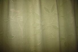 Light sage green pencil pleat curtains - fully lined