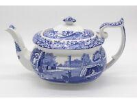 Spode Italian Blue & White large Teapot - 2pint/1.1litre