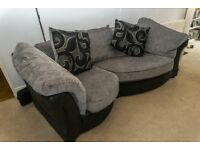 Stylish Pillow Back Sofa & Armchair Set - Grey & Black Including Cushions, Great Condition